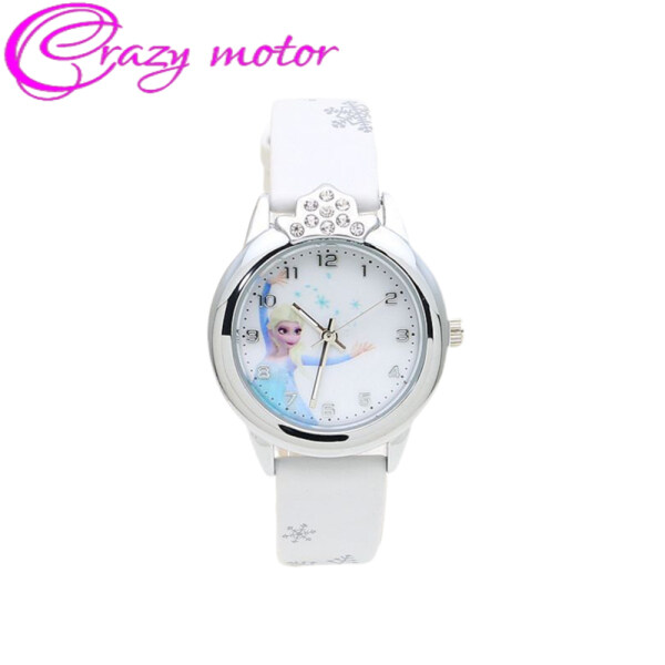 Crazy Motor Cartoon Princess Pattern Wrist Watch Casual Leather Band Quartz Watch for Kids Boys Girls Malaysia