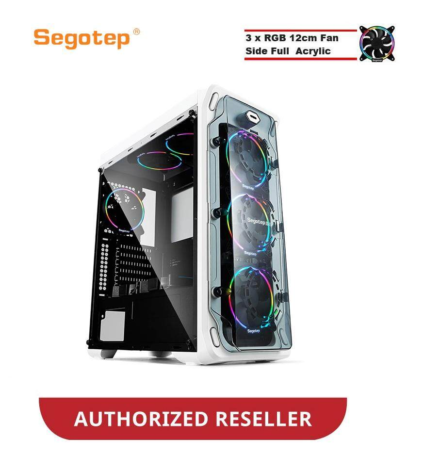 Segotep LUX II ATX Gaming Computer Case (White) FREE 3 X RGB FAN Malaysia