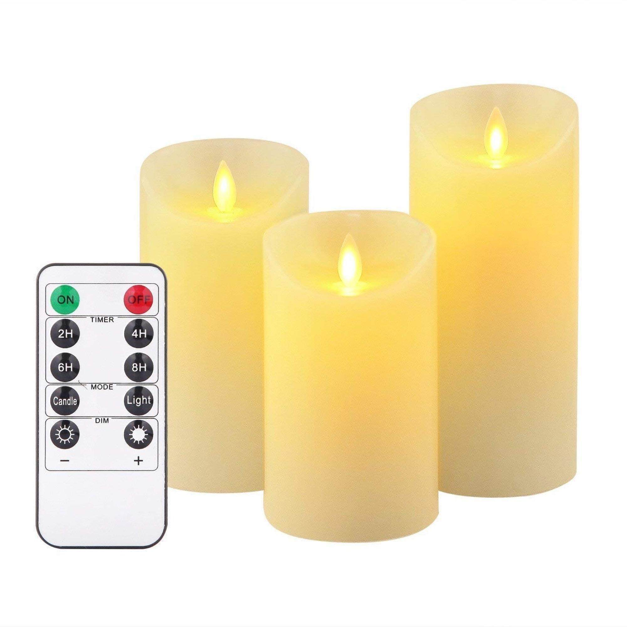 Flameless Candles 8cm (D) x 10cm /12.5cm /15cm (H) Set of 3 Ivory Real Wax Pillars & Moving Flame Wick LED Candles and 10-Key Remote Control with Timer Function, 300+ Hours