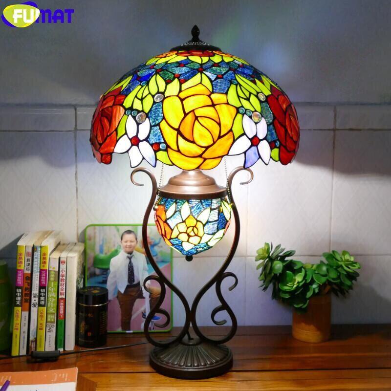 16 Inch Handcraft Art Retro Lighting, Colorful Desk Lamps
