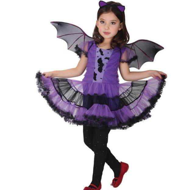 Girls Halloween Costumes Witch Wizard Dress with Bat headband & bat wing Christmas Role Play Cosplay Party Dress-up Supplies Purple