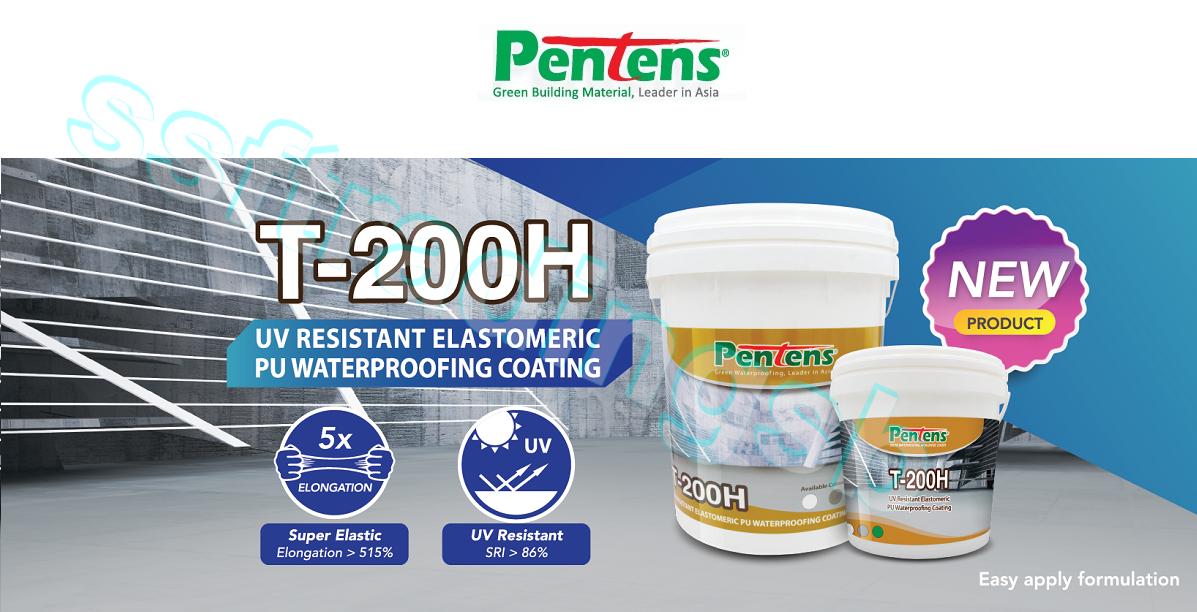 **NEW** PENTENS T-200H WATER PROOFING / UV RESISTANT ELASTOMERIC PU WATERPROOFING COATING / PENTES T200 / 4.5KG