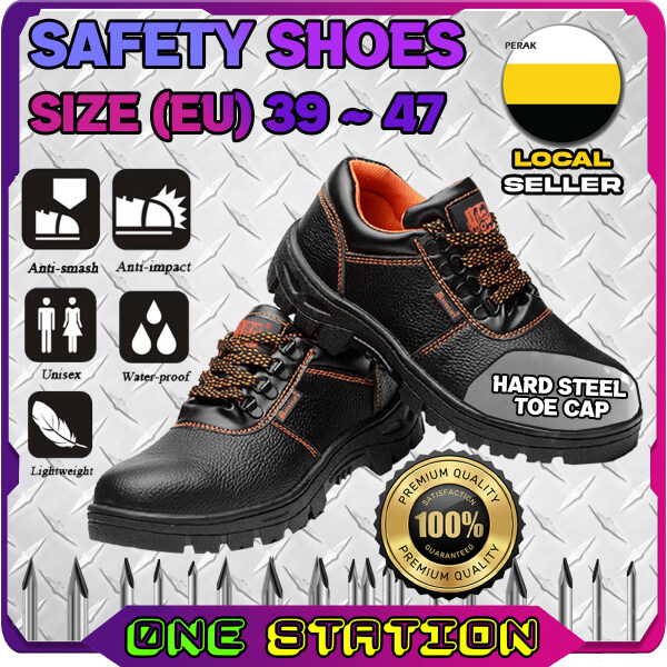 Safety Shoe Steel Toe Cap Mid Sole Low Cut Black Safety Boots Kasut Safety (RANDOM RED / ORANGE LINING)
