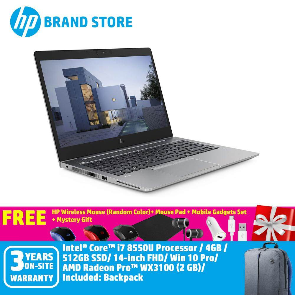 HP ZBook 14u G5 Mobile Workstation 5FW80PA /i7-8550U/8GB/ 512GB NVMe SSD/ AMD Pro WX3100 2GB/ 14Inch FHD IPS Screen/Win 10 Pro+Free HP Wireless Mouse + Mouse Pad + Mystery Gift + Mobile Gadgets Set (Random Color) (Worth RM100) Malaysia
