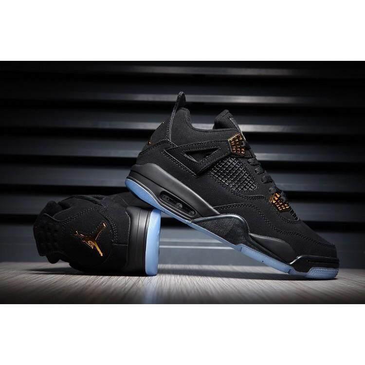 Nike_Air_Jordan 4 Custom Hitam Gold Menyala Dalam Gelap Asli