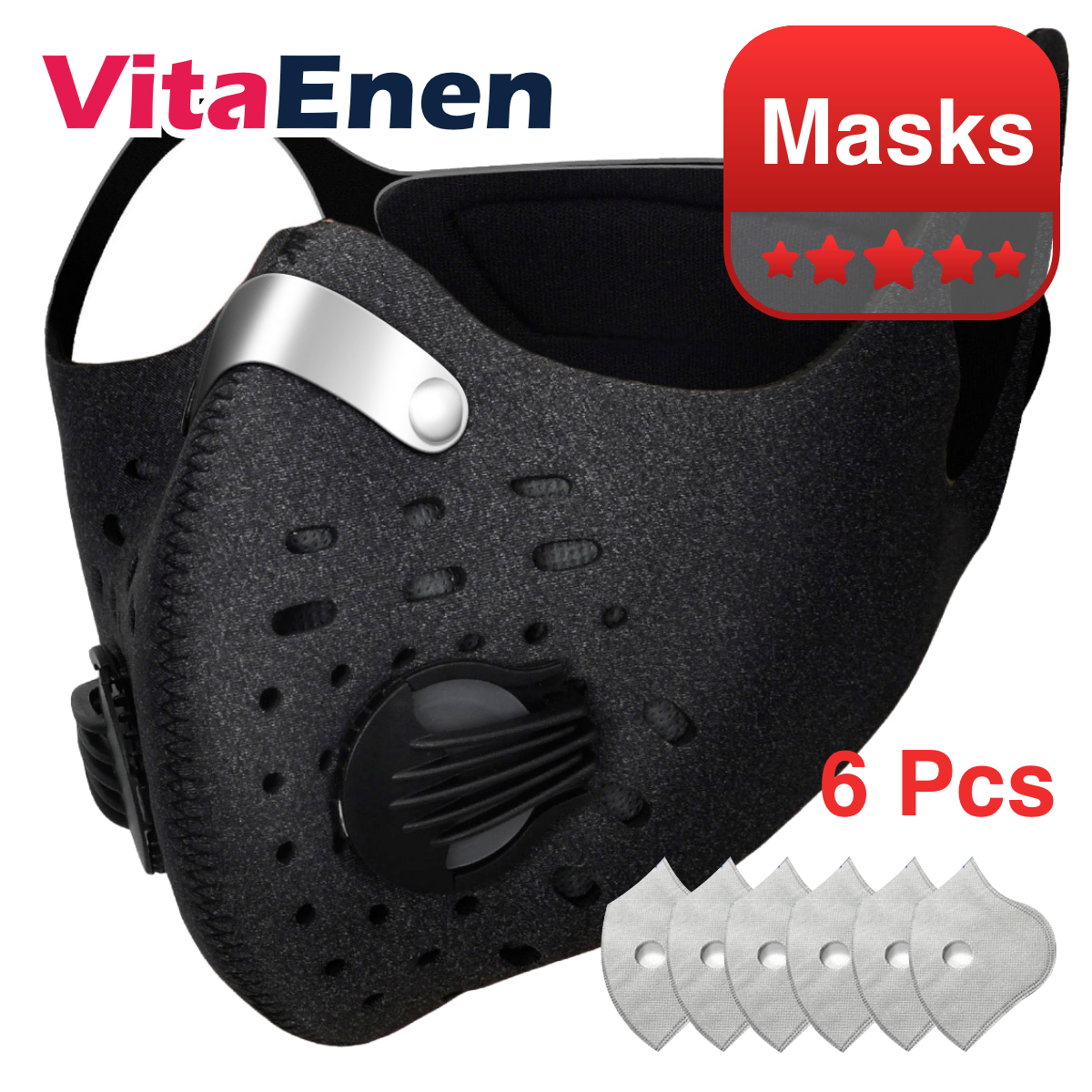 VITAENEN n stock 6Pcs Disposable, 5 Layers Filter,6pcs Filter Activated Carbon Breathing Filters,Haze Valve Anti-dust Breathing Activated Carbon Filter Respirator Mouth-Muffle,Civil, Protection, Safety,Replaceable