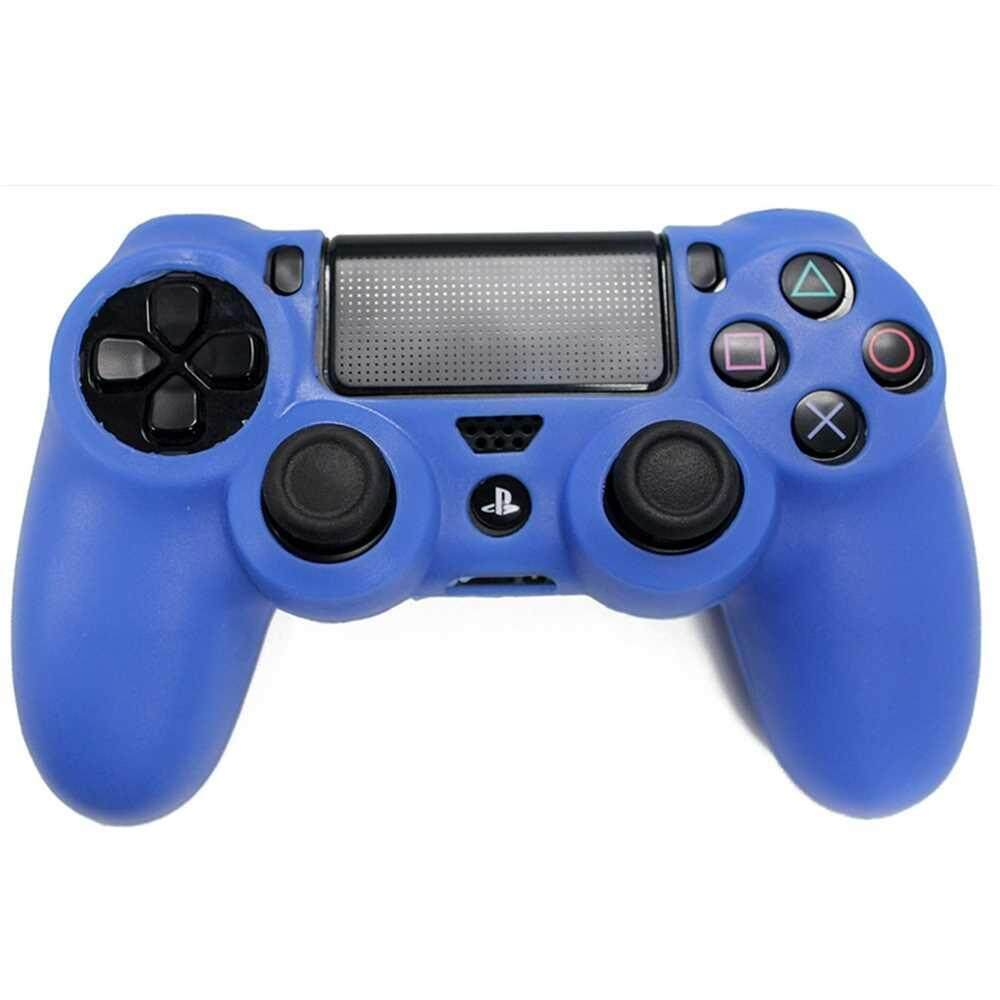PS4 Controller Skin Silicone Rubber Protective Grip Case for Sony Playstation 4 Wireless Dualshock Game Controllers (Blue)