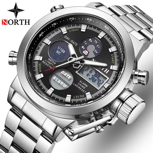 NORTH Mens Watches Brand Luxury Fashion Men LED Digital Dual Display Business Clock Casual Men Sport Waterproof Chronograph Watch Malaysia