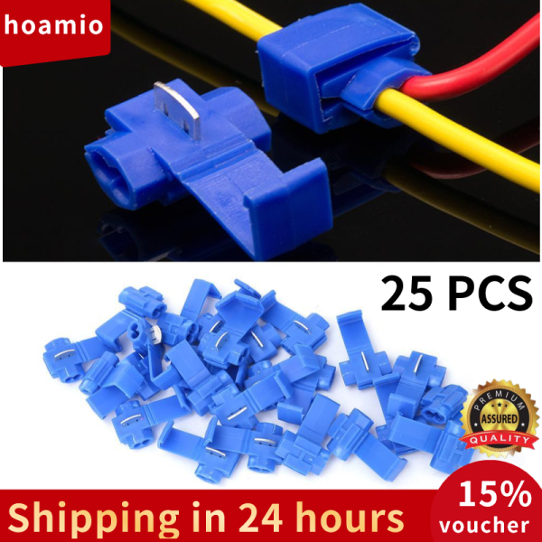 [Quality assurance]  25Pcs Blue Solderless Quick Splice Snap Wire Connector 0.75-2.5mm²/AWG 14 to 18