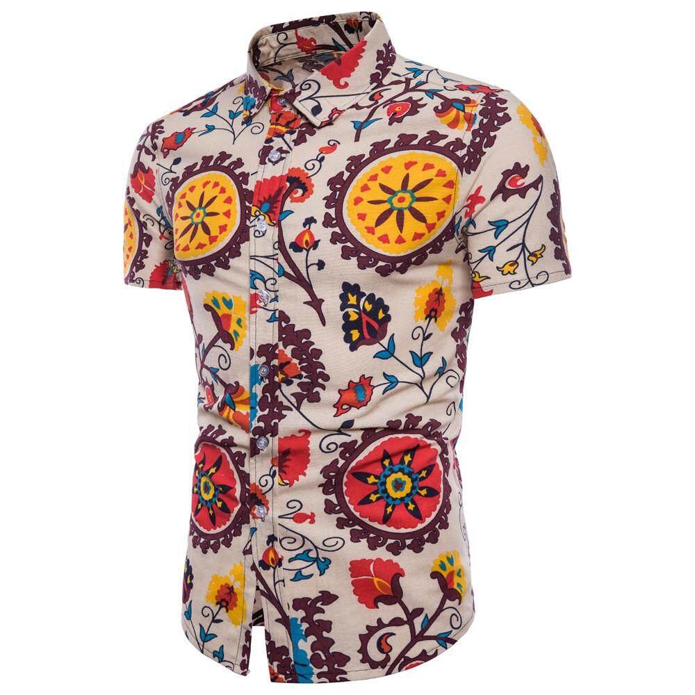 3d6bacdbb2e Echomenshop Men Summer Bohe Floral Short Sleeve Hawaii Basic T Shirt Blouse  Top Plus Size
