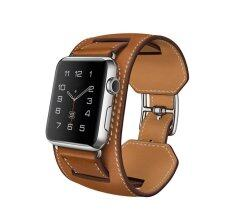 Apple Watch Band, 38mm VENTER®Cuff Genuine Leather watch Band strap Bracelet Replacement Wrist Band With Adapter Clasp for iWahtch Apple Watch & Sport & Edition--Cuff Brown 38mm Malaysia