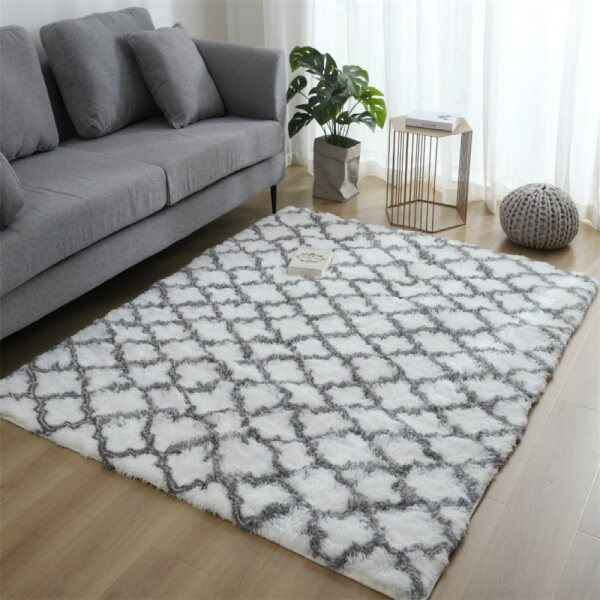 160*200 Luxury Velvet Shag Area Rug Mordern Indoor Plush Fluffy Rugs, Extra Soft and Comfy Carpet, Geometric Moroccan Rugs for Bedroom Living Room Girls Kids Nursery