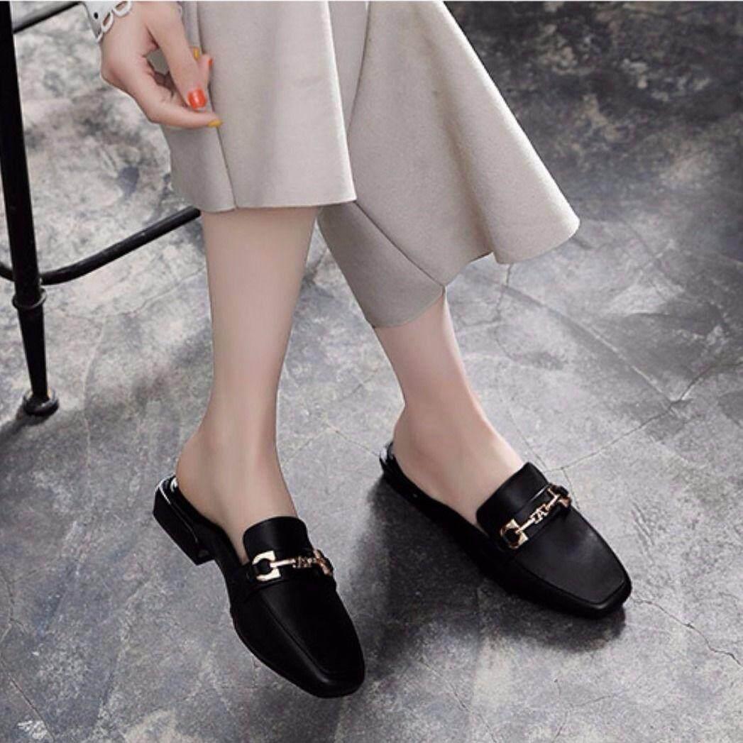 Giày Nữ Phẳng Đế Dây Chuyền Mặc Ngoài Bao Đầu Thấp Gót Giày Lười Nửa Dép Nữ Mùa Hè Giải Trí Giày Với Giá Sốc