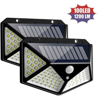 Solar Light Outdoor, 100 LED Waterproof Security Wall Night Light with Motion Sensor 270 Wide Angle for Pathway Porch Yard Garage Garden Fence Walkway Driveway(2 Pack) thumbnail