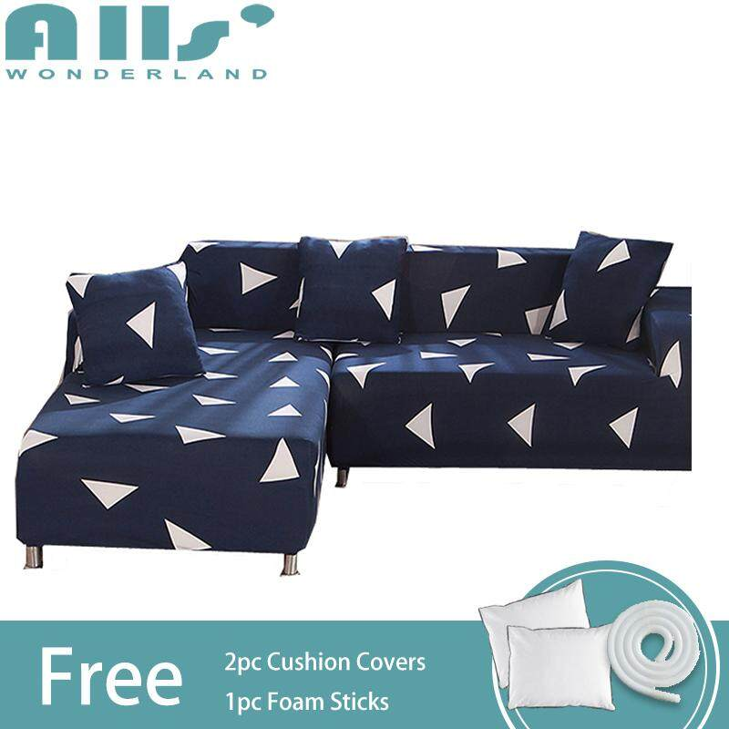 【sofa cover】(2pcs)Stretch Sofa Slipcover/Covers for L Shape Sofa Elastic Couch Shield, Furniture Protector(2 seater+3 seater)