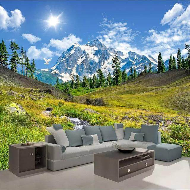 Wall mural photo art Wall mural Snow Mountain interioir photo wallpapers Stickers Vinyl Wall Mural For Living Room Bedroom