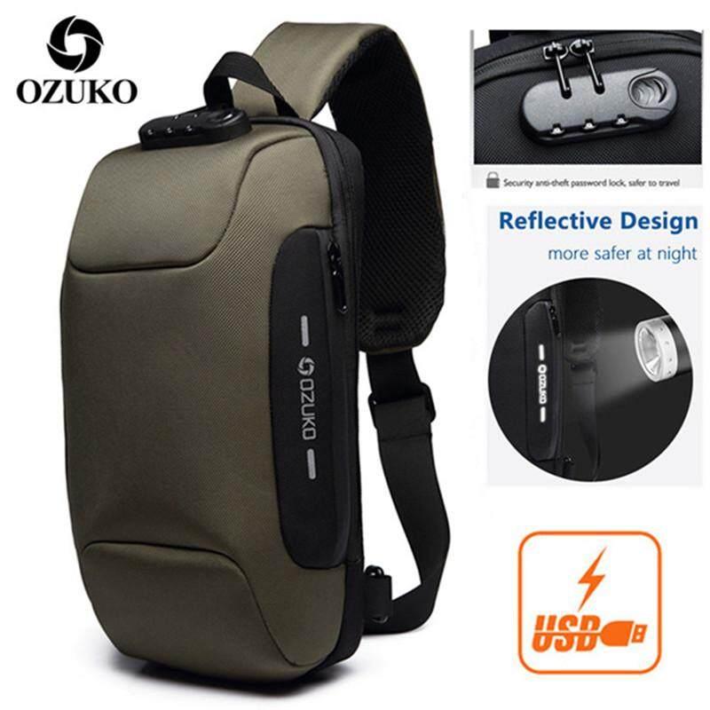c091497586b1 OZUKO USB Anti-theft Chest Bag Waterproof Oxford Business Bag Casual  Crossbody Bag Fashion Travel Bag Multifunction Messenger Bag