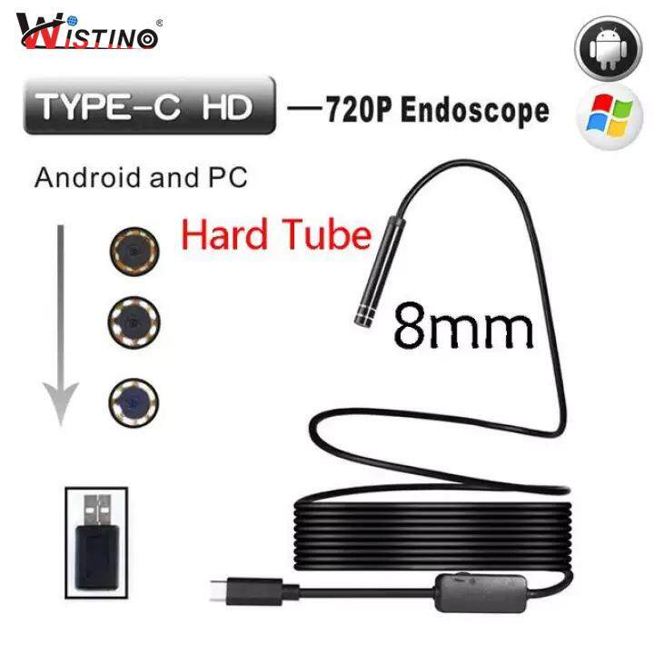 Wistino 8mm Mini Endoscope Camera Android Type-C Usb 3 Meters Hard Snake Cable Waterproof Type C Inspection By Wistino Store.