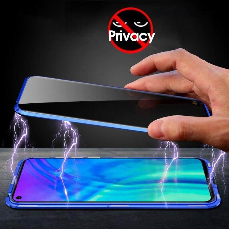 Giá Riêng Tư Kính Cường Lực Từ Tính Hấp Phụ Dành Cho Huawei Nova 5T Chống Nhìn Trộm Nam Châm Kim Loại 2 Trong 1 Ốp Lưng Bảo Vệ Toàn Thân bao Da