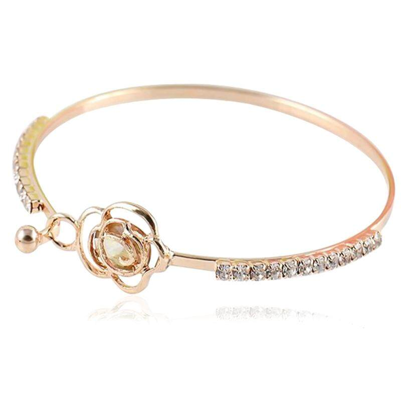SYue Women Fashion New Style Rose Hollowed Out with Zircon Bracelet Exquisite Wild Jewelry Accessories