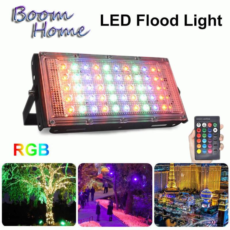 Đèn pha LED AC220V Đèn Pha RGB 16 màu thay đổi ngoài trời không thấm nước 50W Công suất hoàn hảo điều khiển từ xa Đèn pha LED nhiều màu