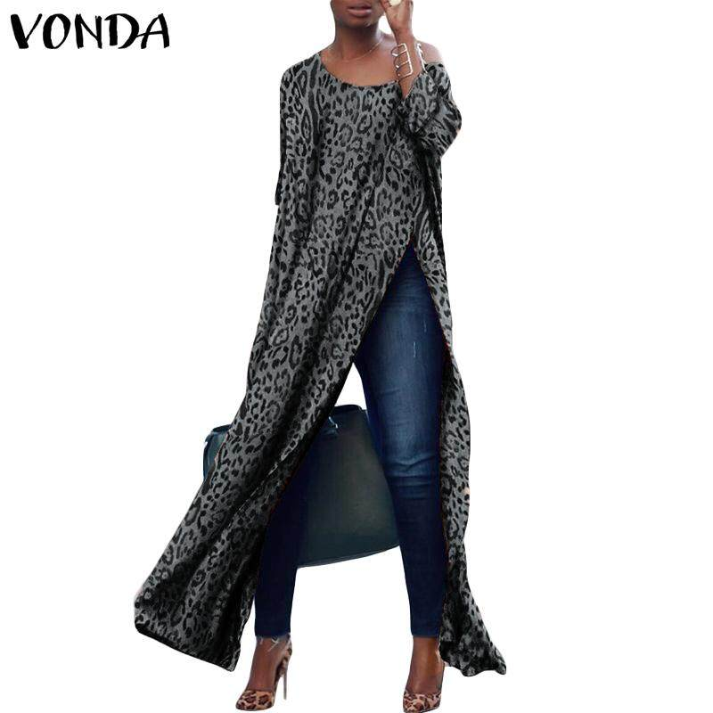 Vonda Women Printed Leopard Off Shoulder High Split Tops Casual Long Maxi Shirt Blouse By Vonda Official Store.