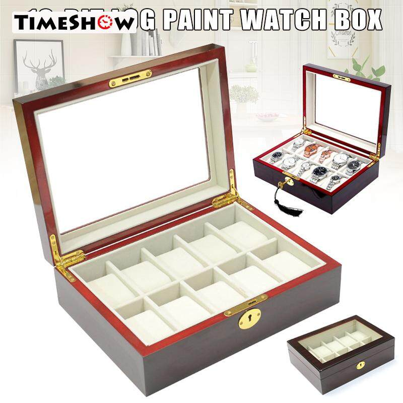 TimeShow 10 Slots Watch Protective Box Wooden Case Display Organizer Storage Tray for Men Women Malaysia