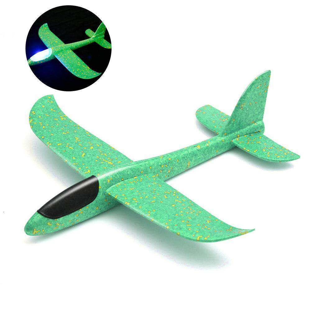 Umiwe New Airplane Model Foam Glider Aircraft Hand Launch Inertia Airplane  Toys Outdoor Sports Flashing Luminous Airplane Decor Can Fly At Night for