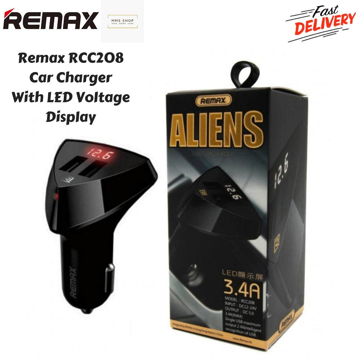 REMAX Aliens RCC-208 Voltmeter Display Battery Display 2 USB Dual USB 3.4A Car