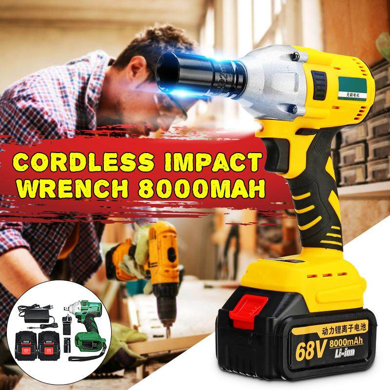 68V 8000mAh 520N.m 1/2Electric Brushless Cordless Impact Wrench Drill+2 B*attery --- Green / Yellow