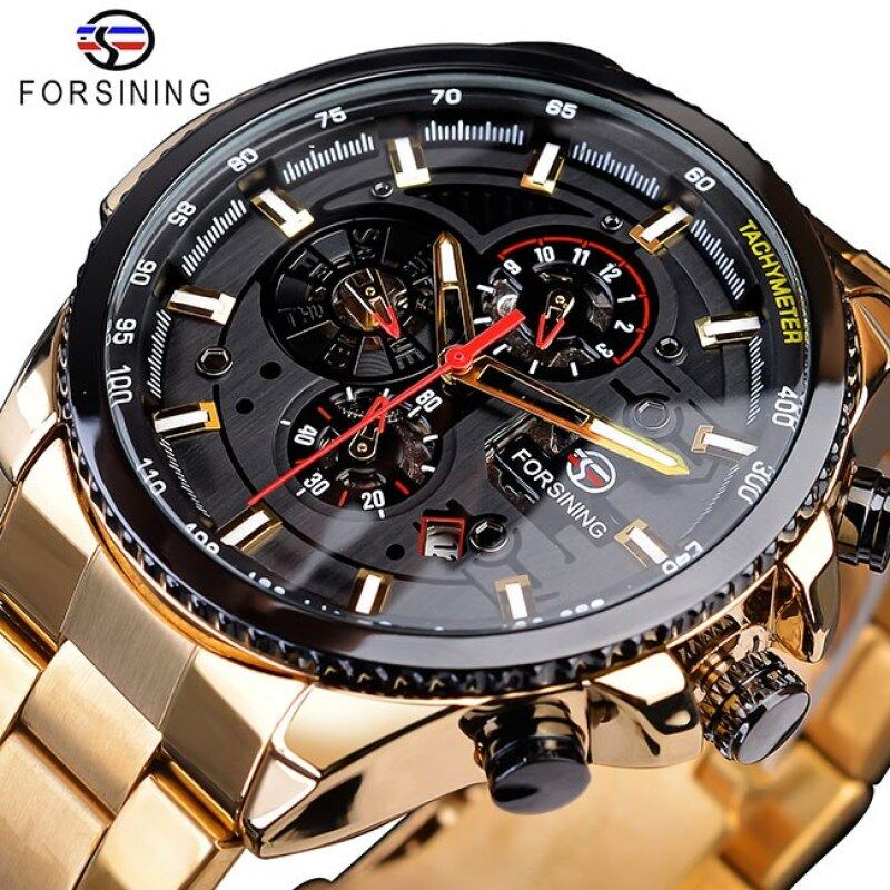 Forsining 2020 Classic Black Clock Steampunk Series Complete Calendar Mens Sport Mechanical Automatic Watches Top Brand Luxury Malaysia