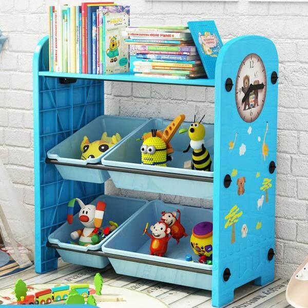 RuYiYu - 62 X 30 X 64cm / L W H, 3 Layers Kids Toy Organizer and Storage Bins, 4-Bins in Fun Colors, Toy Storage Rack