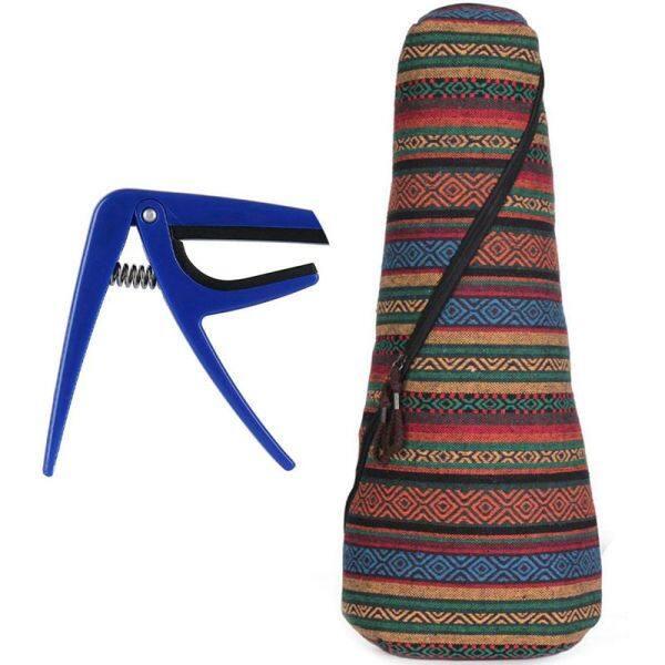 1Pcs Trigger Capo Key Clamp Fr Acoustic Ukulele, Blue & 1Pcs Bohemian Ukulele Case Bag for Both Soprano Concert Ukulele