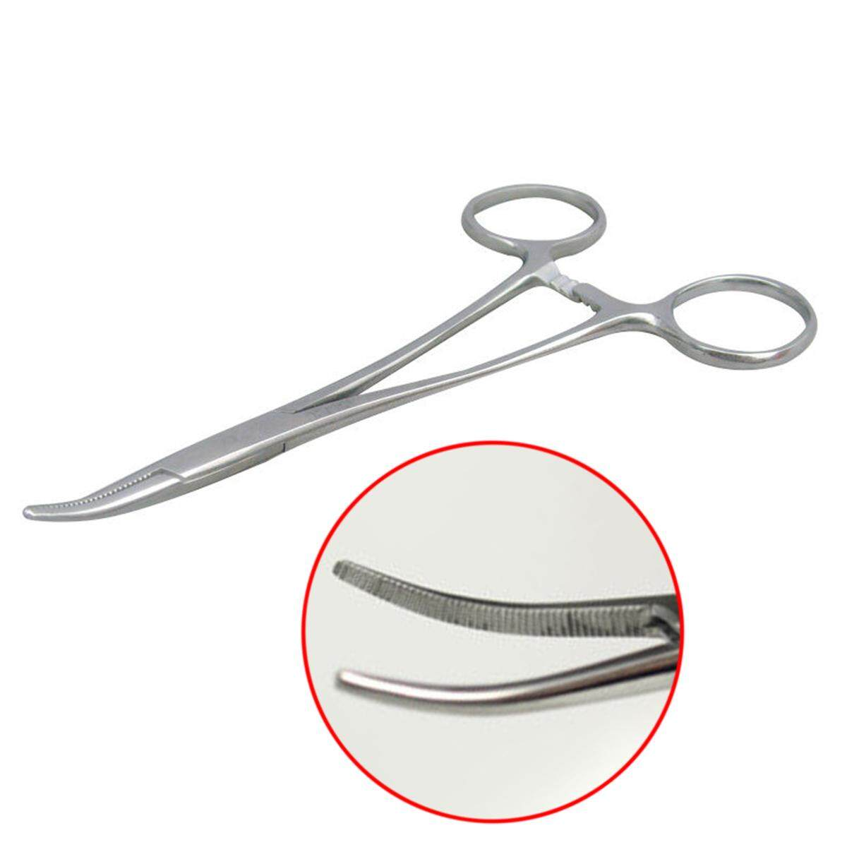 idealhere New 12.5cm Stainless Steel Fishing Curved Tip Hemostat Locking Clamps Forceps