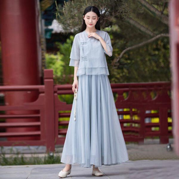 Bộ Đồ Han Cổ Điển Phiên Bản Chỉnh Sửa Hai Mảnh Mùa Hè Váy Của Phụ Nữ Phù Hợp Với Sườn Xám Đầm Trà Zen Phong Cách Trung Quốc Cổ Tích