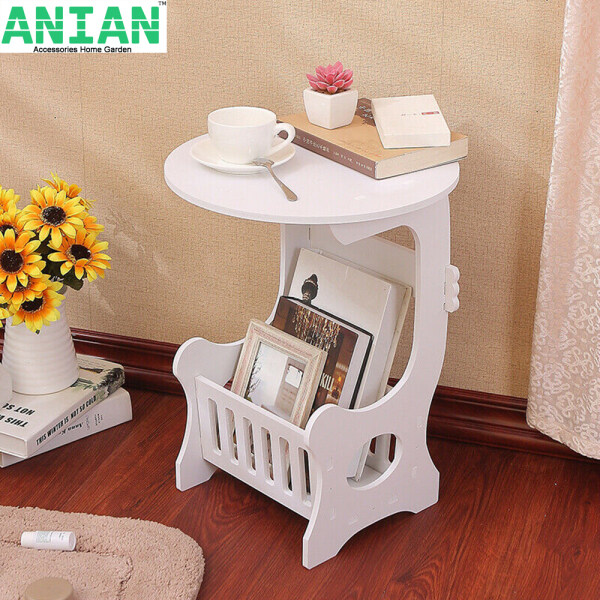 ANIAN  White Small Round Coffee Tea Magazine Table Rack Sofa End Side Lamp Night Stand