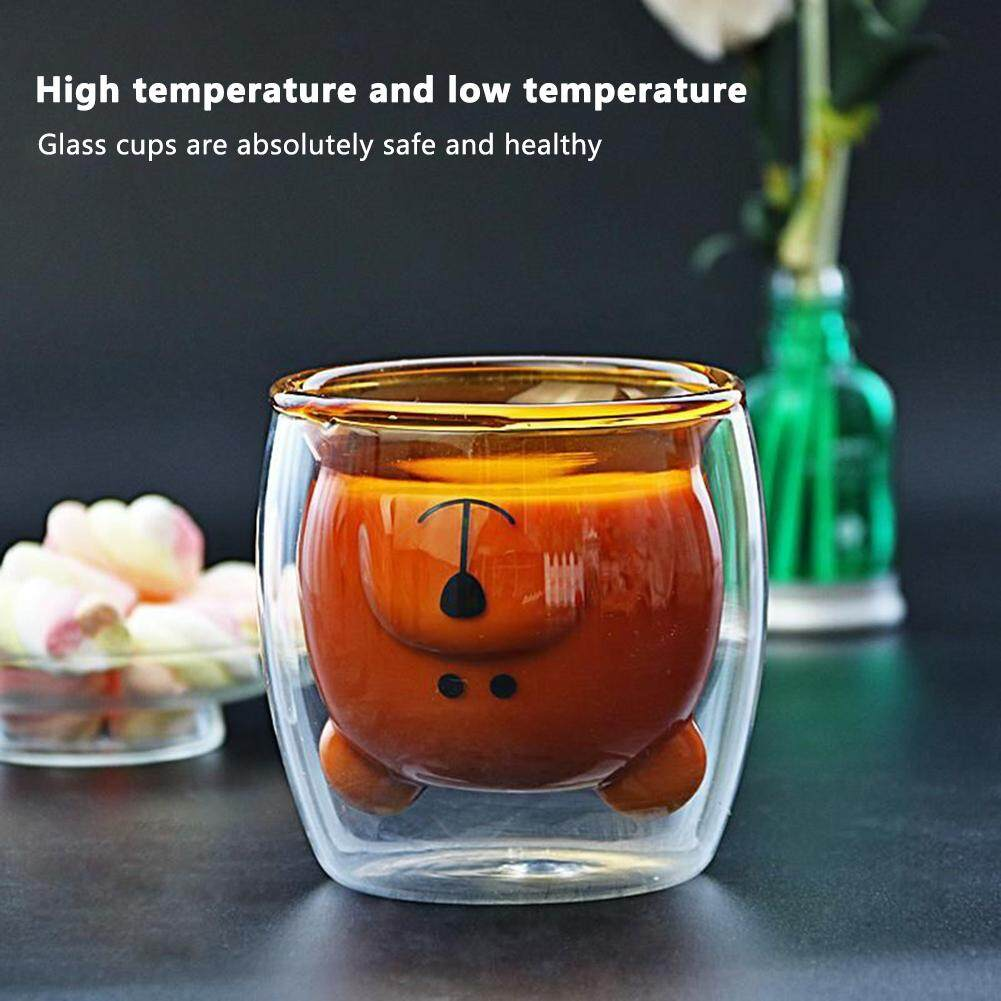 Bear Glass Cup Double-Layer Fashion Innovative Borosilicate Glass Transparent Wine Coffee Cup