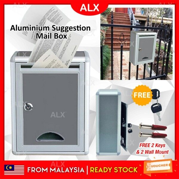 ALX BORONG Malaysia Aluminium Mailbox Suggestion Letter Box wt Security Lock Key Outdoor Waterproof Post Newspaper Durable Home Office