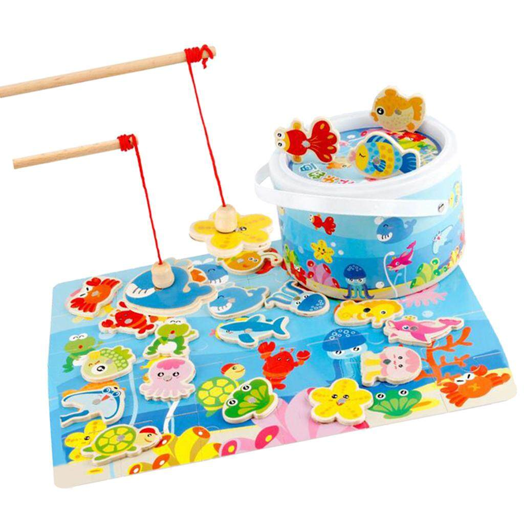 Perfk Wooden Magnetic Fishing Pole Game for Toddler Boys Girls Age 2+