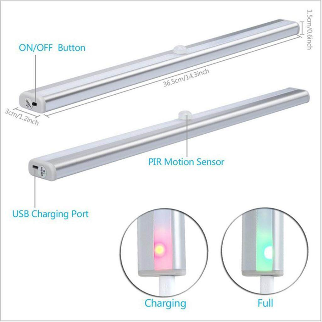 Perfk USB 20-LED Tube Light PIR Motion Light Sensor Lamp Bar Light with Switch