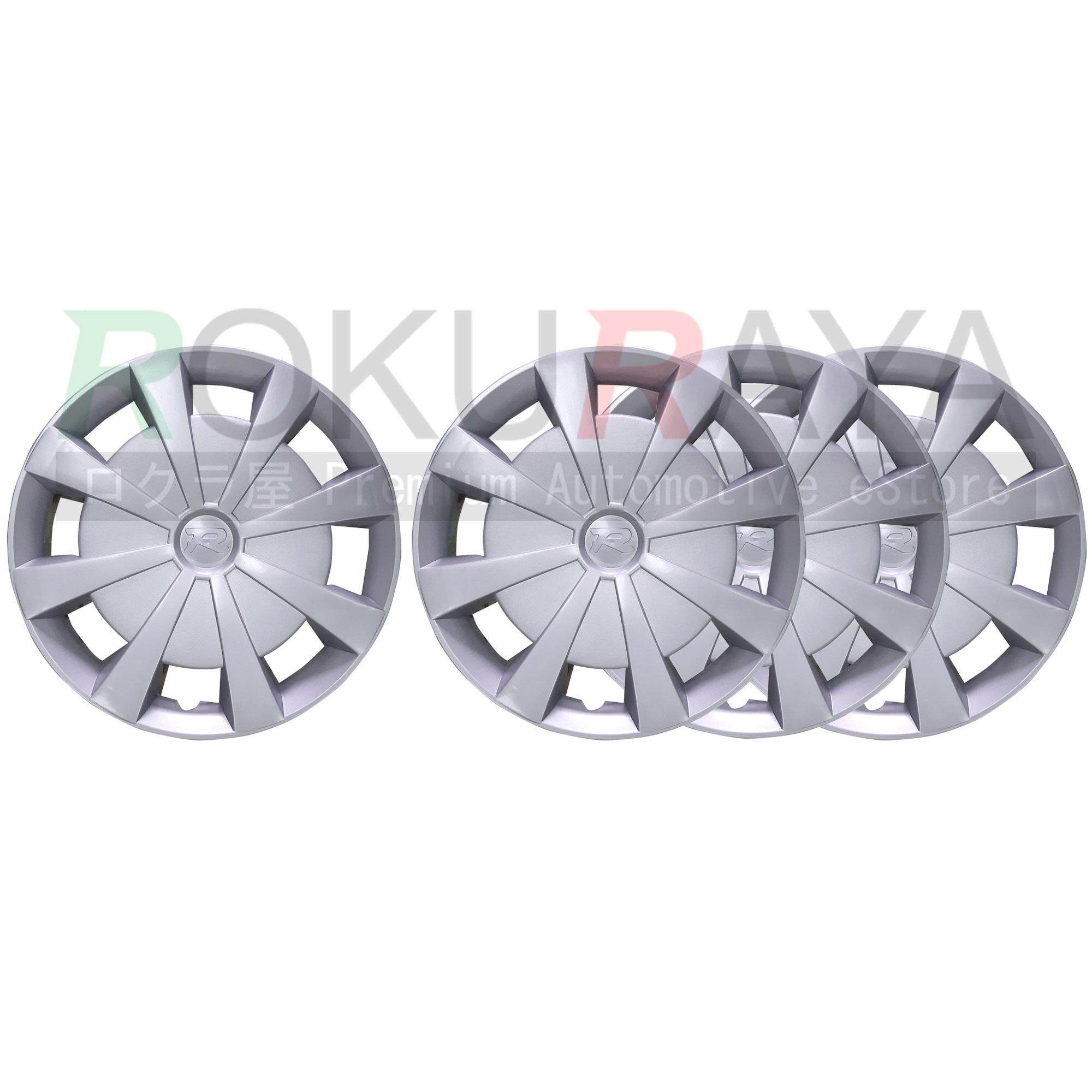 Sport Universal 14 R14 Inch Wheel Cover Type R Look Tire Auto Center Hub Caps Trims For Oem Steel Rim (with Center R Logo) - Complete Set Of 4 Pieces By Automart Rr.