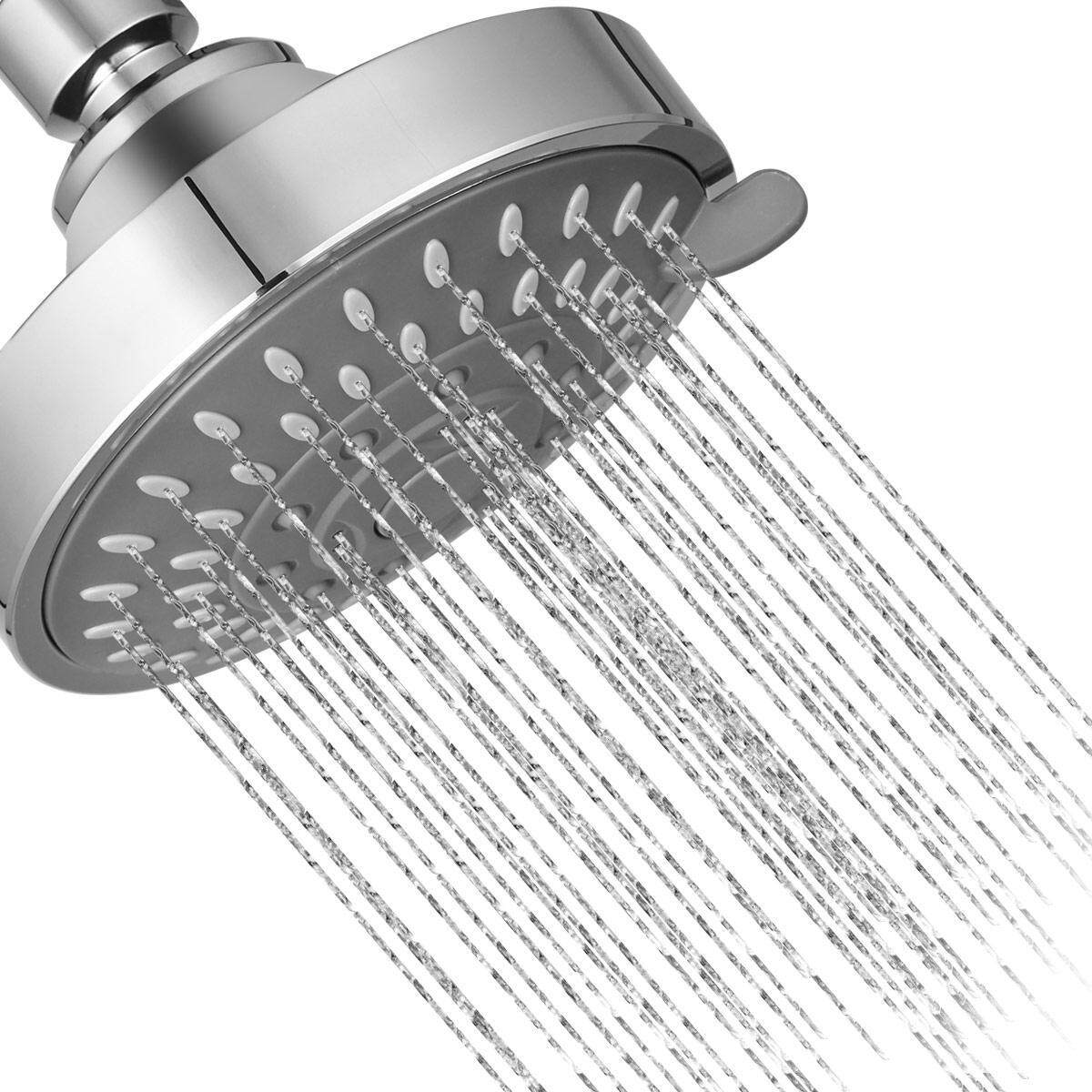 BuyBowie High Pressure Shower Head - 4 Inch Anti-leak Anti-clog 5 Function Chrome Showerhead - Adjustable Metal Swivel Ball Joint with Filter - Ultimate Shower Experience Even at Low Pressure and Water Flow