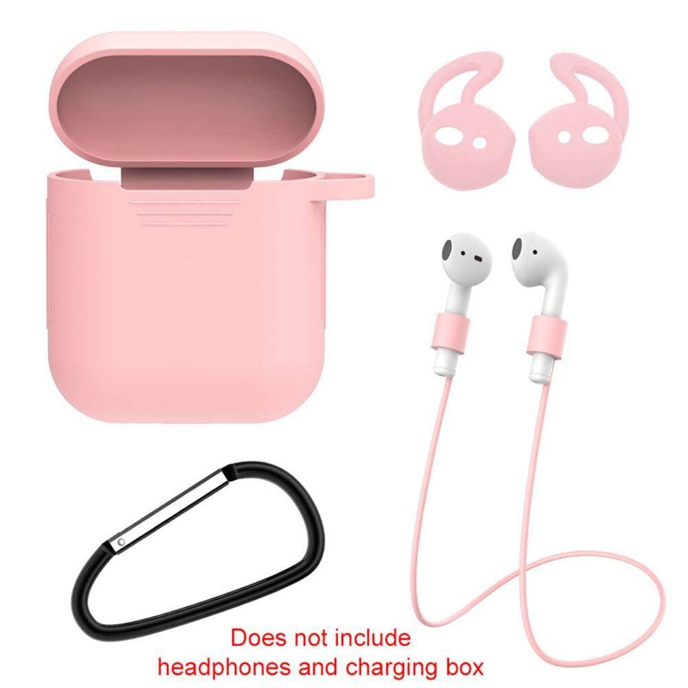 BOMO 01 Bộ gồm hộp đựng tai nghe Bluetooth+dây chống rơi+vỏ bảo vệ tai nghe không dây+móc treo bằng silicone chống sốc trầy xước cho Airpods 1 2 giá tốt - INTL