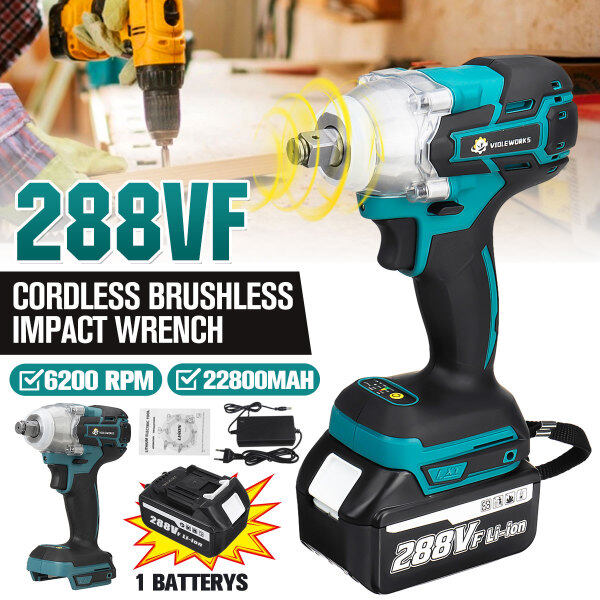 288V 1/2 inch 800NM 22800mAh Electric Wrench Cordless Brushless Impact Wrench 1/2 Battery