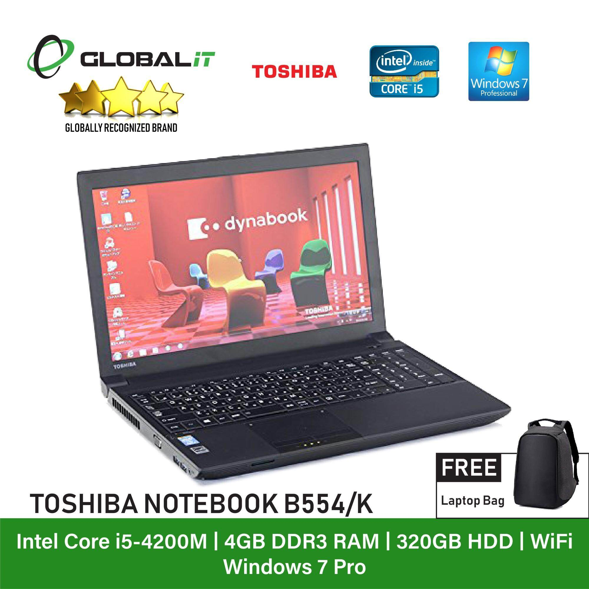 (Refurbished Notebook) Toshiba Dynabook Satellite B554-K Laptop / 15.6 inch LCD / Intel Core i5-4200M / 4GB Ram / 320GB HDD / WiFi / Windows 7 Malaysia