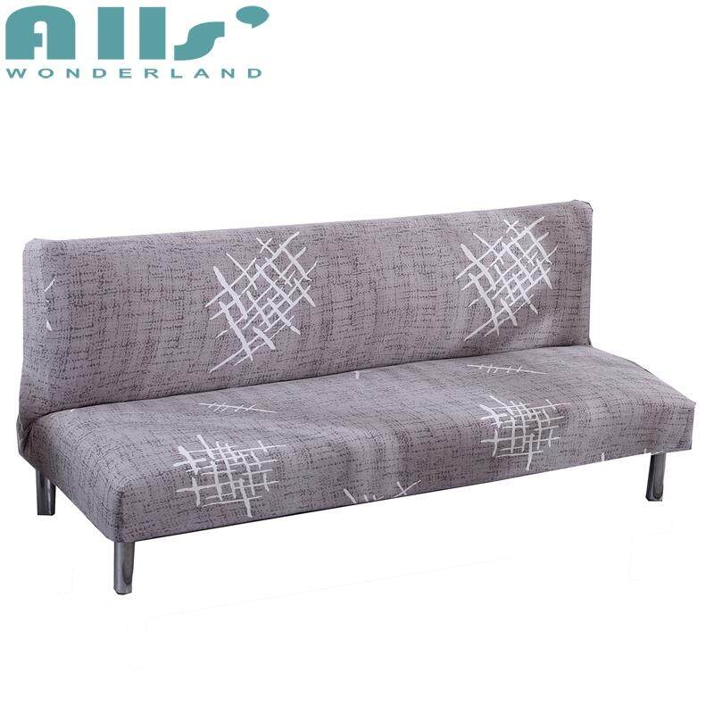 【Cover】3 Seater Folding Sofa Bed Cover Stretch No Handrails Sofa Slipcover Elastic Cover