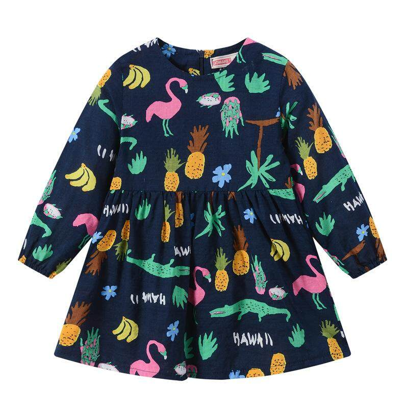 b59f3d79b622 Spring Autumn New Girl Multicolor Printed Long Sleeve Dress Children s  Explosive A-shaped Skirt Cute Skirt Cotton girl long-sleeved dress in the  ...