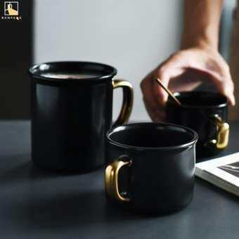 BANFANG American gilt-edged ceramic mug coffee cup retro matte black gold office tea cup-