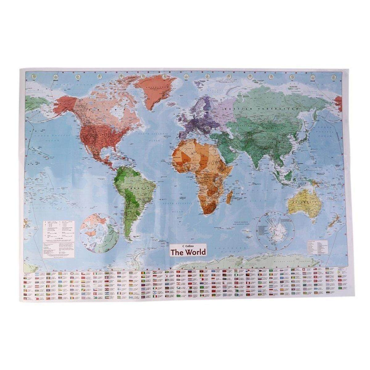 Best Seller Multicolor 97.5 X 67.5 Large World Map English French Wall Chart Teaching Poster