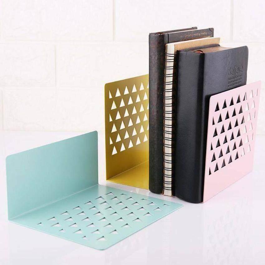 Metal Hollow Desktop Organizer Bookends Book Ends Support Stand Holder Shelf W